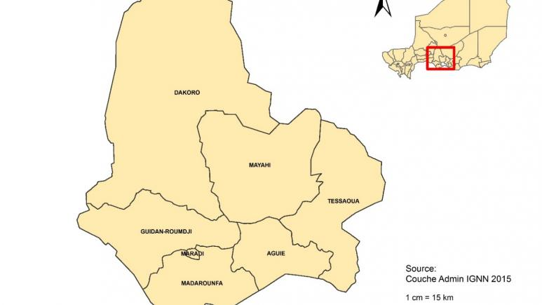 Niger: districts where the cholera vaccination campaign was organized