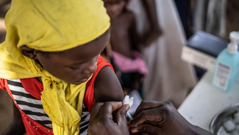 measles vaccination coverage Chad
