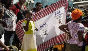 An outreach team regularly visits the community to raise awareness, prevent sexual violence and inform inhabitants about the availability of medical and social assistance in Nairobi, Kenya